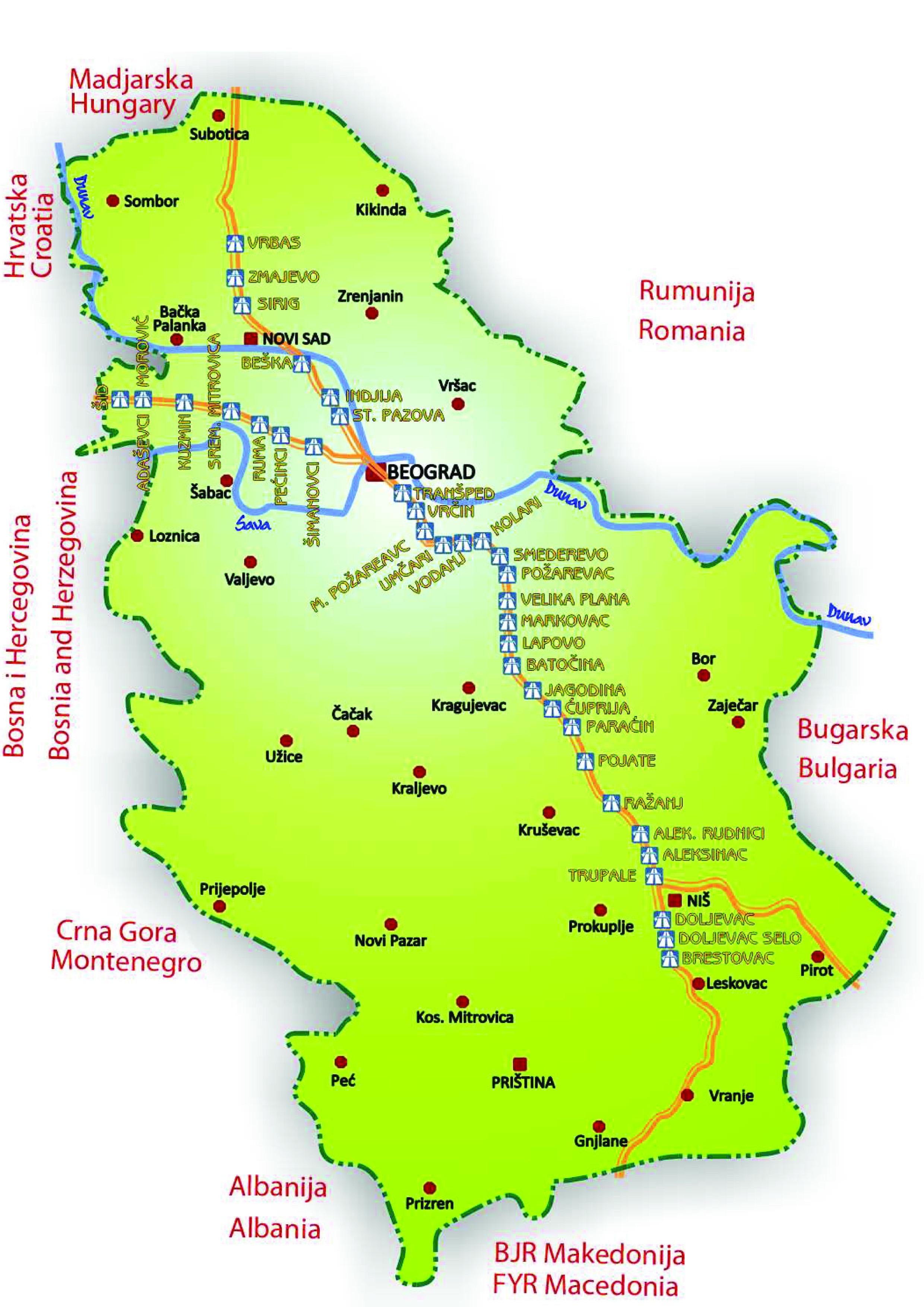 mapa autoputa srbije Putarina cene Srbija | Lokacije naplatnih stanica mapa autoputa srbije